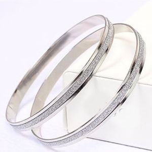 Silver Scrub Shimmer Bangle Cuff Bracelet Set